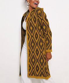 Misell Mustard Geometric Hooded Cardigan - Women | Best Price and Reviews | Zulily Hooded Cardigan, Sweater Cardigan, Cardigans For Women, Amazing Women, Mustard, Hoods, Cover Up, Sweaters, High Point