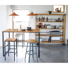 modern rustic mid century high bench table kitchen island workbench mid century. Black Bedroom Furniture Sets. Home Design Ideas