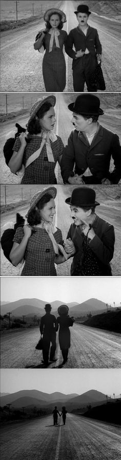 The conclusion to Modern Times 1936 The gamin has also lost her cheerfulness, but Charlie Chaplin brings her smile back. Both keep walking toward an open horizon which suggests hope and possibilities.