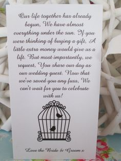 25 Wedding Money Poem Cards For Your Invitations Free UK Shipping