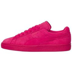 Puma Womens Suede Classic Colored Rode Red ($70) ❤ liked on Polyvore featuring shoes, puma, sneakers, suede shoes, red suede shoes, red shoes and suede leather shoes