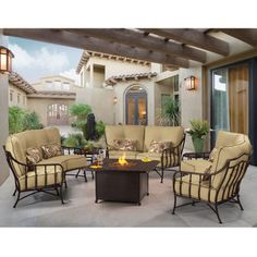 Cortez 6-piece Crescent Deep Seating Set with Firepit Table