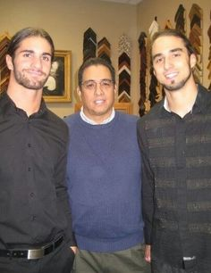 Seth Rollins (Colby Lopez) with his father & his brother  Seth's brother looks a lot like him but they sure didn't get their height from their dad lol