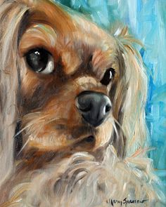 PRINT Cavalier King Charles Spaniel Dog by HangingtheMoonShelby, $29.95