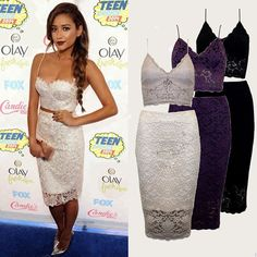 Ladies Lace Two-piece Dress Cropped Top and Skirt Set Celebrity Dresses M L XL #Unbranded