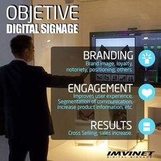 If you are still thinking about whether you should put a Digital Signaling circuit in your business or organization you need to read this image. The objectives of Digital Signage and its benefits are many the recognition of the brand considerable increase in sales or a more effective communication are some of the benefits that the Digital Billboards can offer you. For more information contact us via email at info@imvinet.com or visit our website www.imvinet.com #digitalboards  #digital…