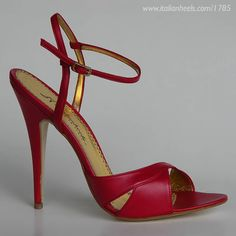 Red leather 5in sandals