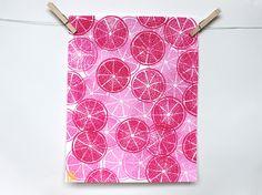 """GRAPEFRUITS"" Pattern Fruit Linocut Art Print 11x14""  Linoprint, linoleum, print, printmaking, stamp, ink, grapefruit"
