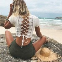 Wish | Summer Women Lace Bandage Hollow Out Crop Tops Blouse Shirt Short T-Shirt