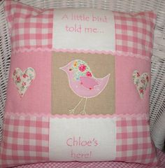 Baby cushion what a lovely design ! One could easily use it and personalise it for a precious baby !