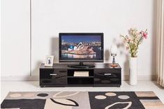 Black Gloss TV Cabinet Table With 2 Drawers Furniture Stand Living Room Bedroom
