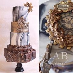 Victorian Steampunk wedding cake made with Satin Ice Amazing Wedding Cakes, Amazing Cakes, Steampunk Wedding Cake, Button Cake, Satin Ice Fondant, Sea Dream, Steamed Cake, Luxury Wedding Cake, Cake Factory