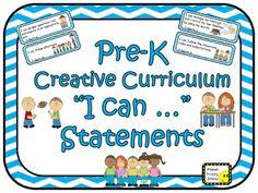 """64 Pre-K Creative Curriculum """"I can …"""" Statements"""