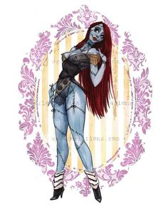 Sally Nightmare Before Christmas Halloween Pin Up inspired Watercolor Giclee Art print Carla Wyzgala carlations Arte Disney, Disney Art, Disney Pin Up, Arte Tim Burton, Jack Und Sally, Desenhos Halloween, Halloween Pin Up, Halloween Witches, Happy Halloween