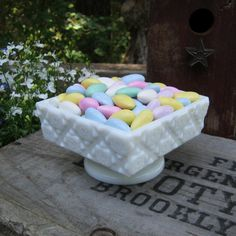 Westmoreland Old Quilt Candy Dish in Milk Glass  by oakhillvintage