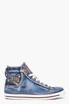 Diesel Denim Mid Exposure Sneakers for women | SSENSE