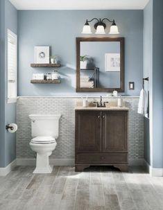 Bathroom wall color blue bathroom colors grey and blue bathroom ideas amazing gray walls colors white Shower Remodel, Tub Remodel, Restroom Remodel, Remodel Bathroom, Bathroom Flooring, Bathroom Cabinets, Restroom Cabinets, Wood Cabinets, Bathroom Furniture