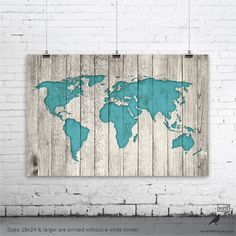 15 fantastic rustic wall art ideas pinterest rustic interiors rustic world map poster large map of the world turquoise map on wood look gumiabroncs Choice Image