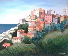 Peinture à l'huile village de speloncato (corse)