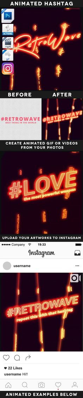Animated Retrowave Hashtag Action