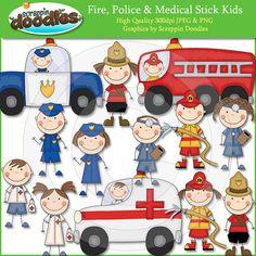 Firemen Police Men & Paramedic Stick Kids Clip by ScrappinDoodles, $3.99