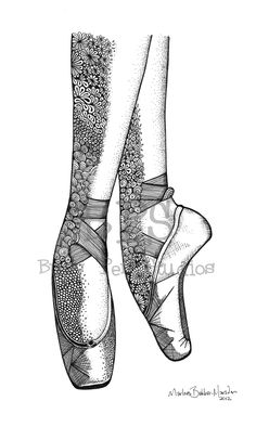 Classic Ballet Pointe shoes print, drawn on Pointe for julia! Mandala Drawing, Mandala Artwork, Love Illustration, Pointe Shoes, Dance Pictures, Just Dance, Art Sketchbook, Doodle Art, Art Drawings