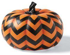 Chevron Halloween Pumpkin - Halloween Decorations and Decor traditional holiday decorations