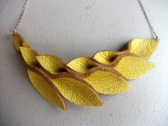 Yellow Leather Petal Necklace by HaKNiK on Etsy, $24.00