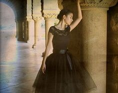 Black tulle skirt tutu for women.  Lined with black satin and a black satin ribbon waist. Classic retro style.