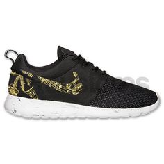 Nike Roshe Run Black Marble Metallic Gold Musical door NYCustoms