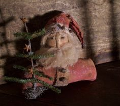 Prim Santa & Twiggy Pine...early country antiques.