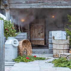 Finnish sauna and summer Outdoor Sauna, Outdoor Decor, Jacuzzi Bathroom, Spa Tub, Sauna Design, Finnish Sauna, Forest House, Summer Kitchen, Lawn And Garden