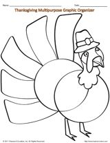 Turkey Coloring Page & Multipurpose Graphic Organizer
