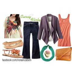 """""""Curvy & Flirty"""" created by #nolaelizabeth, #polyvore #fashion #style Old Navy #Report #Mango Coldwater Creek cross body bags ballet flats multi-strap sandals #blazers statement necklaces #violet plus size #jeans #purple #jacket tank top #curvy jc penney top shop #linen cold water creek #nude #tan #print old navy #peach #denim"""