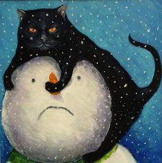 1 x Grumpy Cat and Snowman Christmas Card from painting by Victoria Stanway