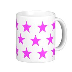 Pink Stars On White Mug  Perfect for your pink and white home decor  #lounge #diningroom #white #multicoloured #kitchen   #hers #male #female #drink #drinking #colourful #colours #designer #his   #chic #retro #modern #stylish #cute #vintage #style #radiant #happy    #birthday #anniversary #xmas #occasions #beautiful #home #bedroom    #bright #bold #love