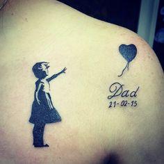#dad #daughter #black #ink #banksy #tattoo #shoulder #heart #memories #father #love #cairo #egypt #m - moritatattoo