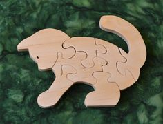 Cat Puzzle with Bag for Storage Handmade Educational Wood Puzzle - made in USA