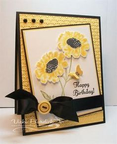 Su:  Field Flowers stamp set.  Yellow and black - tilted flowers card
