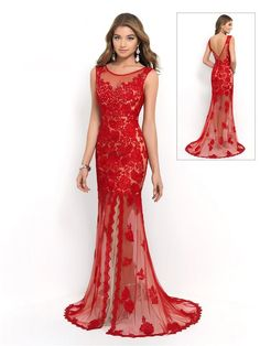 Red long mermaid evening party dress