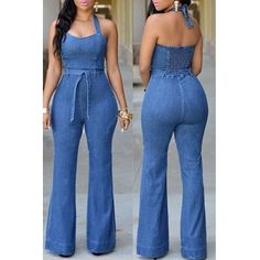 Buy Fashion Halter Backless Sexy Jeans Wide Leg Blue Long Jumpsuit at Wish - Shopping Made Fun Bodycon Jumpsuit, Backless Jumpsuit, Jeans Jumpsuit, Casual Jumpsuit, Playsuit, Jumpsuit Outfit, Cream Jumpsuit, Silk Jumpsuit, Romper Outfit