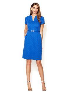 Tahari ASL Cotton Jacquard Short Sleeve Sheath Dress