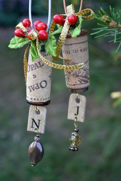 Beautiful and Unique Wine Cork Ornament with Initial. $7.00, via Etsy.