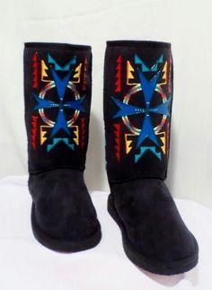 Rez hoofz www.etsy.com/shop/rezhoofz Native American Dress, Native American Beadwork, Native American Fashion, Native Fashion, Crazy Shoes, Me Too Shoes, Navajo Clothing, Native Boots, Native Beading Patterns