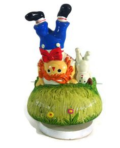 Raggedy Andy Revolving Music Box Schmid 1981 Plays Yesterday Andy Dog Headstand #Schmid