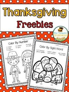 Thanksgiving Color by Code Freebies   Grab these FREE color by code pages for a quick and easy Thanksgiving week activity!  Get the download HERE.  Color By Code Color by Number color by sight word k-1 Mrs. Thompson's Treasures Pilgrims Thanksgiving turkey