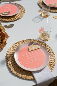 Yellowglen Sunset Spritz Launch – Corporate Styling by LENZO // rattan charger and pink plastic menus with semi circle plastic place cards Marie's Wedding, Wedding Menu Cards, Wedding Places, Wedding Table Settings, Wedding Stationery, Place Settings, Wedding Foods, Lesbian Wedding, Wedding Vintage