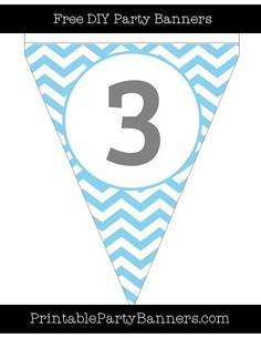 Baby Blue and White Pennant Chevron Number 3