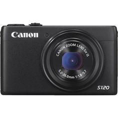 Canon - PowerShot S120 12.1-Megapixel Digital Camera - Black - Larger Front
