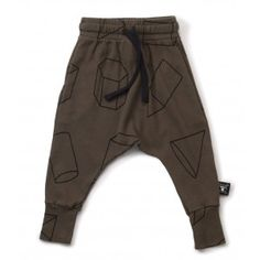 Nununu Geometric Baggy Pants - Olive - available at www.halfpintshop.com